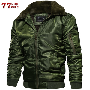 Image 1 - Masculino tático piloto bombardeiro jaqueta inverno outono quente jaquetas de vôo militar gola de pele do exército motocicleta parkas casacos de lã