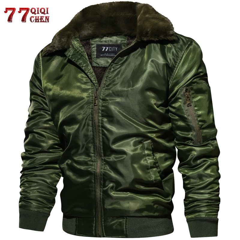 Men's Tactical Pilot Bomber Jacket Winter Autumn Warm Military Flight Jackets Fur Collar Army Motorcycle Parkas Fleece Coats Men