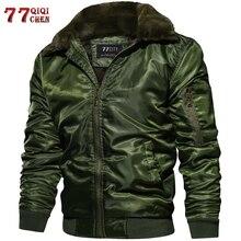 Mens Tactical Pilot Bomber Jacket Winter Autumn Warm Military Flight Jackets Fur Collar Army Motorcycle Parkas Fleece Coats Men