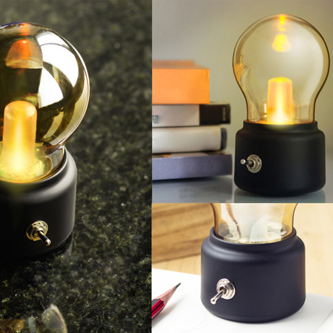Vintage Bulb Night Light Retro USB Lamp Rechargeable Luminaria Nightlight LED Energy-saving Book Lights Mini Bed Lamps