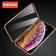 Suntaiho Magnetische Fall für iPhone XS fall XS Max Dual Gehärtetem Glas Magnet Adsorption Fall für iPhone 8 Plus glas 7 XR Abdeckung