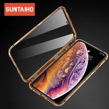 Suntaiho 마그네틱 케이스 아이폰 XS 케이스 XS 최대 듀얼 강화 유리 자석 흡착 케이스 아이폰 8 플러스 유리 7 XR 커버