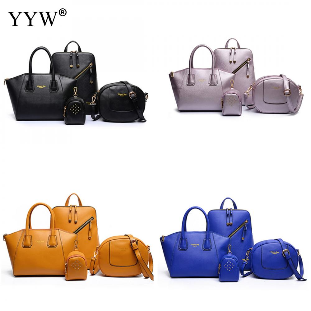 4 PCS/Set Orange PU Leather Handbags Women Bag Set Famous Brands Tote Bag Lady's Shoulder Bags Clutch Bag Wallet Womens'Pouch