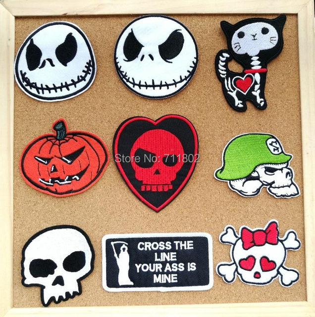 jack iron on patches cat badge halloween gift embroidered skull punk applique christmas diy cloth accessory