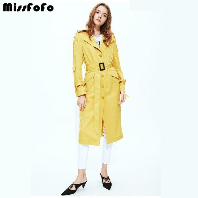 Miss FoFo 2018 Новая мода Офисные женские туфли пуговица для пальто талии желтый Цвет Размеры S-xl карман молодежи солнце высокое качество