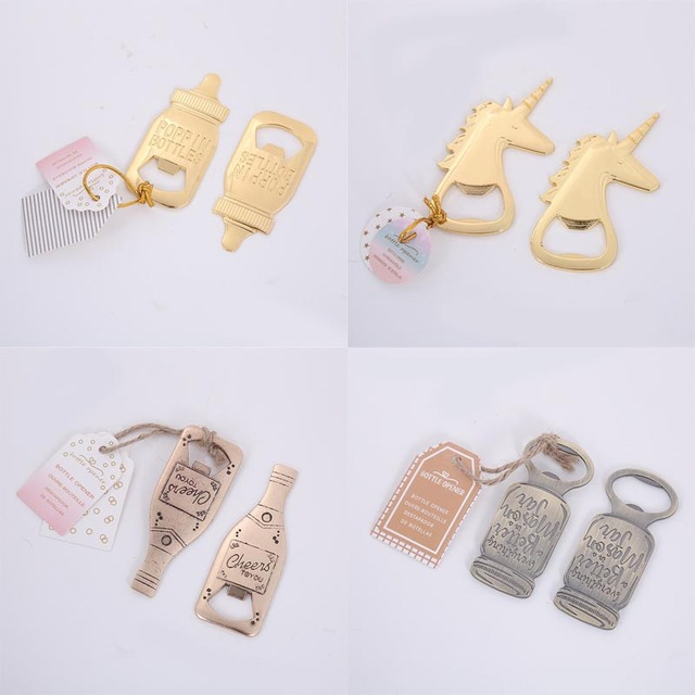 50PCS LOT Bridal Shower Party favor and Baby Shower Door Gifts Mason Jar  Poppin Baby Bottle Unicon Champagne Bottle Opener afbe43b91ce7