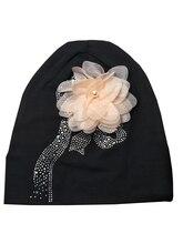 B17925 2017 Мода bling bling кристалл шапочки твердые цветок шапочка эластичный хлопок горный хрусталь девушки шляпы для женщин