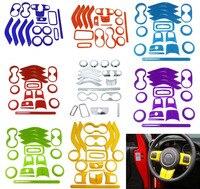 18 Pcs Guarnição Steering Wheel Chrome Ar Condicionado Ventilação Interior Acessórios Kits de Capa Maçaneta da porta Para Jeep Wrangler JK 8 cor