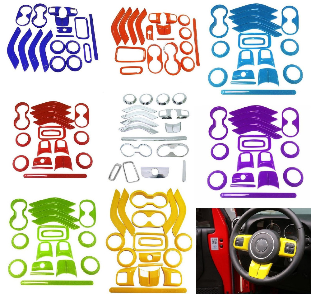 18Pcs Chrome Steering Wheel Trim Air Condition Vent Interior Accessories Door Handle Cover Kits For Jeep Wrangler JK 8 Color 18pcs chrome interior ac outlet trim cup holder roof light handle cover armrest wheel trim frame cover for jeep cherokee 2014 15