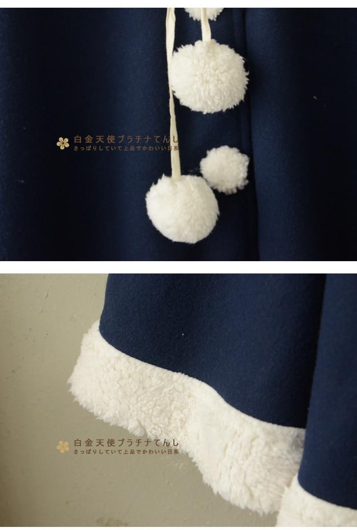 """Осень Зима Новое Женское пальто японская Лолита флисовое теплое пальто с капюшоном рукав """"летучая мышь"""" зимнее женское однобортное пальто"""