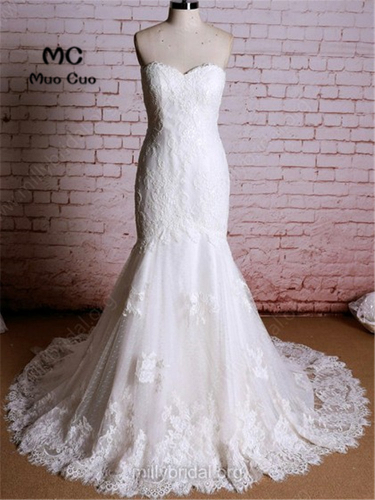 Elegant Mermaid Wedding Dresses With Lace Robe De Mariage Tulle Court Train Vestido De Noiva Strapless Bridal Gowns