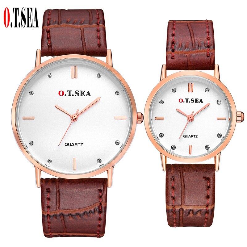 Hot Sales O.T.SEA Brand Leather Pair Watches Men Women Lovers Fashion Crystal Dress Quartz Wristwatch 6688-4