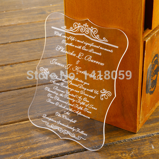 For Without Words Paper Wedding Invitations: 100 Personalized Elegant Clear Wedding Invitation Cards