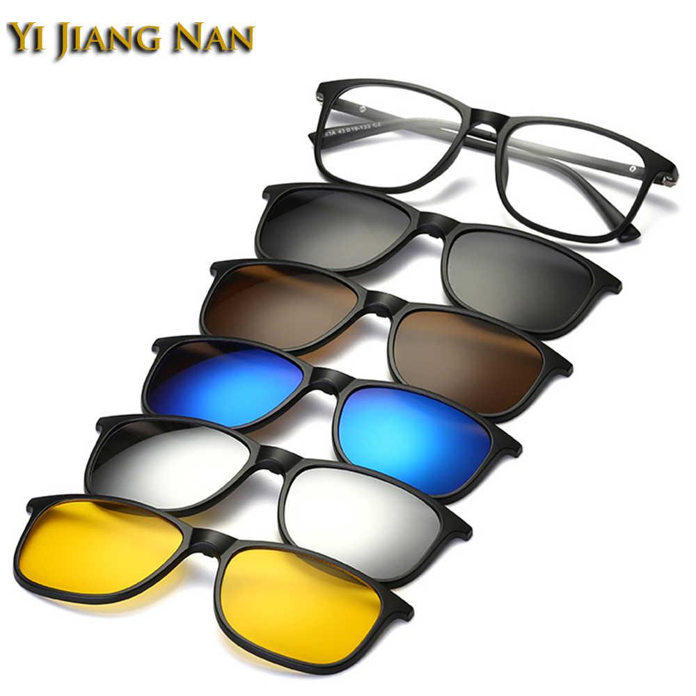 Yi Jiang Nan marca de moda diseñador gafas hombres Clip lentes marco gafas de sol polarizadas pinzas mágicas para mujeres