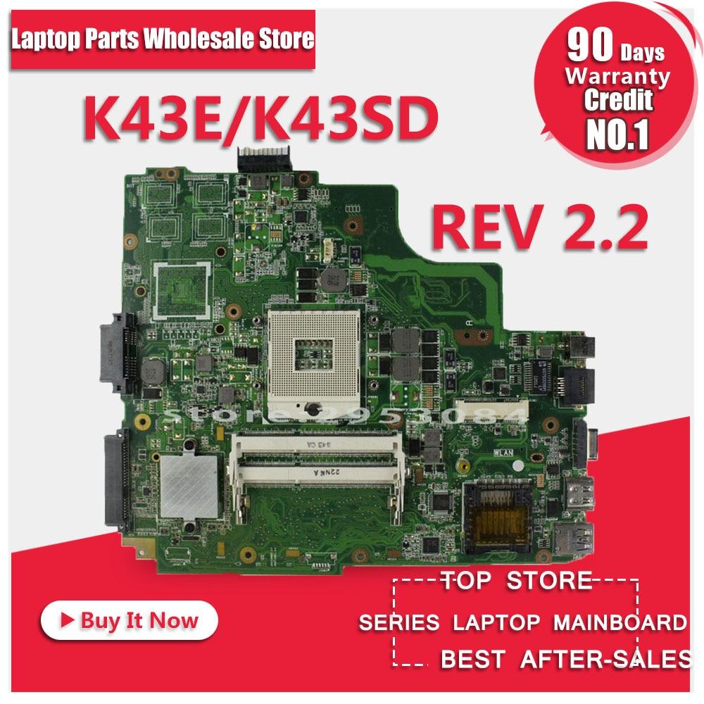 For ASUS K43E Laptop motherboard K43SD REV:2.2 100% tested