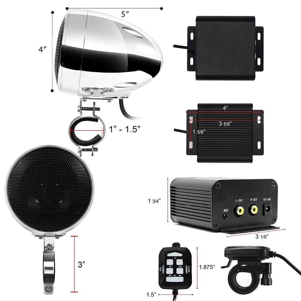 Ensemble Audio moto aijump M150 avec amplificateur stéréo 2ch, haut-parleurs étanches 4 pouces, Bluetooth, Radio FM, AUX MP3 (Chrome) - 4