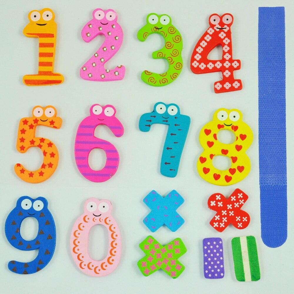 Веселые красочные магнитные цифры деревянные магниты на холодильник детские развивающие игрушки подарок