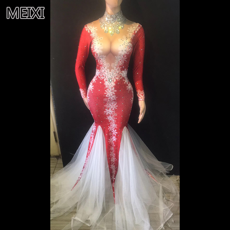 Atmospheric red deep V snowflake rhinestone gauze dress bridal luxury bar birthday party concert singer dancer costumes
