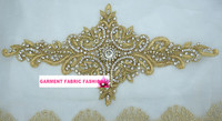 Ethnic Indian wedding dress hand-embroidered silk gold and silver rhinestone motif for belt DIY clothing accessories