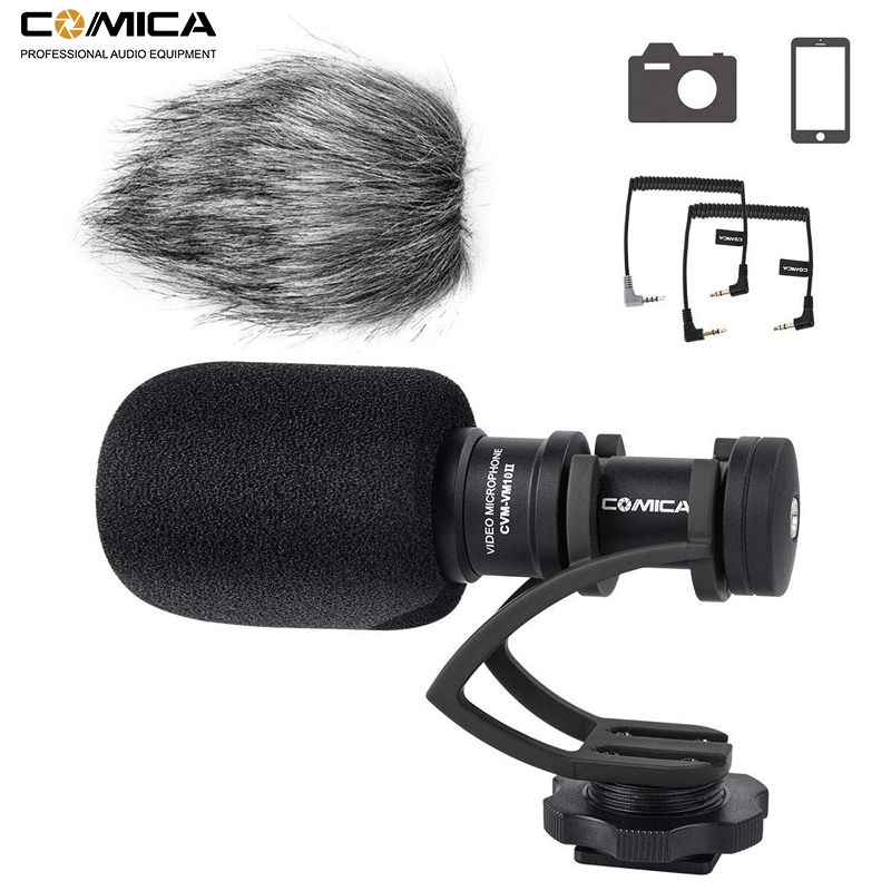 Comica CVM-VM10II Mini Video Microphone Directional Interview Recording Mic for Canon Nikon DSLR Camera for iPhone Smartphones