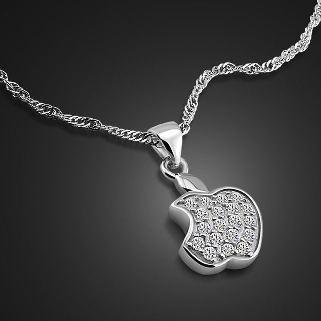 New 925 sterling silver necklace lady apple pendant design solid new 925 sterling silver necklace lady apple pendant design solid silver clavicle necklace charm jewelry valentines mozeypictures Image collections