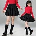 2016 Autumn Winter Girls Skirts Student High Waisted Pleated School Uniform Kids Knit Skirts Children Clothing