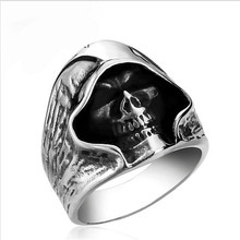 fashion Men Tough guy punk style Retro grim Reaper skull rings high quality 316L Biker free delivery