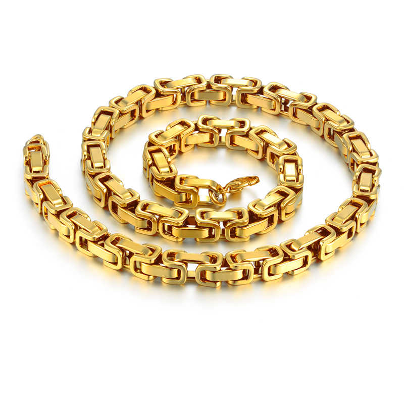 "Hip Hop Men's Thick Gold Byzantine Chain Necklaces Male 8mm Gold Color Stainless Steel Chains For Men Jewelry 22"" 26"" 28"""