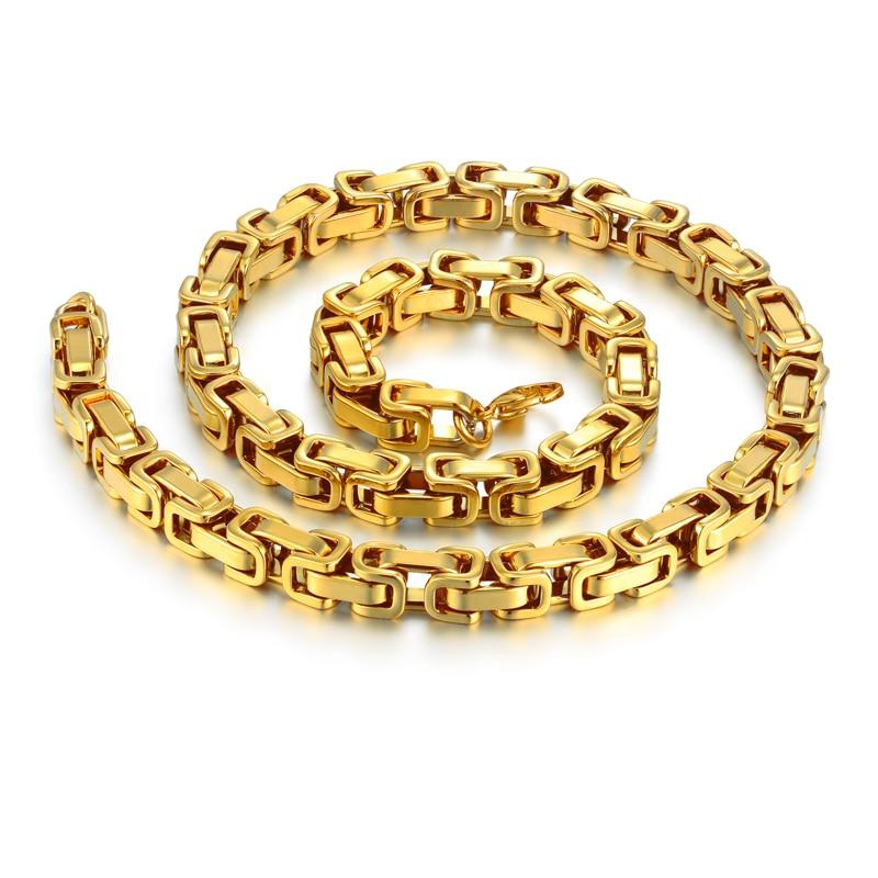 "Hip Hop pria tebal emas rantai Bizantium kalung, Laki-laki 8 mm warna emas rantai Stainless Steel untuk perhiasan pria, 22 ""26"" 28 """