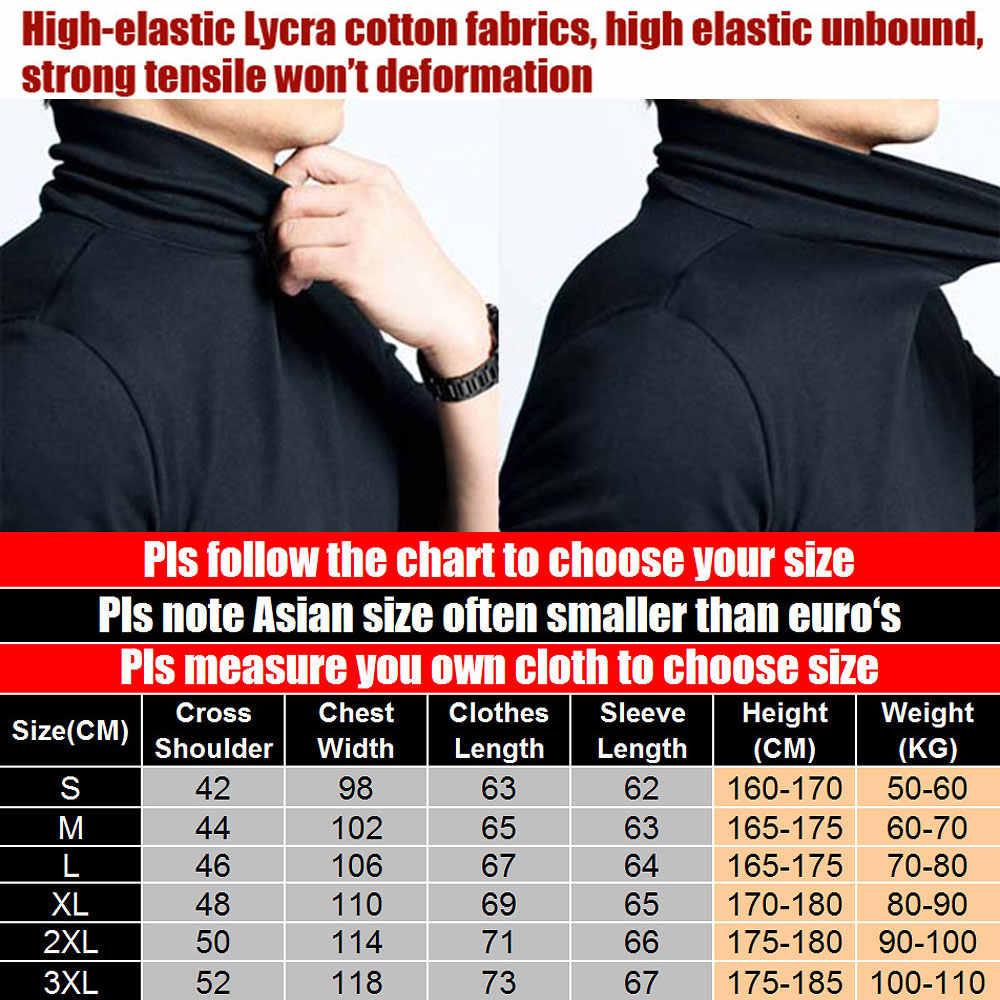 Camisa de manga longa dos homens dos homens dos homens do pescoço da tartaruga do elástico da camisa do t dos homens do tamanho novo da marca de moda