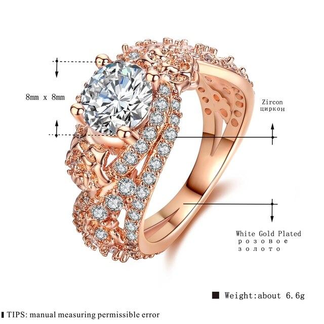 MDEAN Rosa Color Oro Anelli per Le Donne Wedding Ring AAA Zircone gioielli Bague Fidanzamento Accessori Moda szie 6 7 8 9 10MSR414