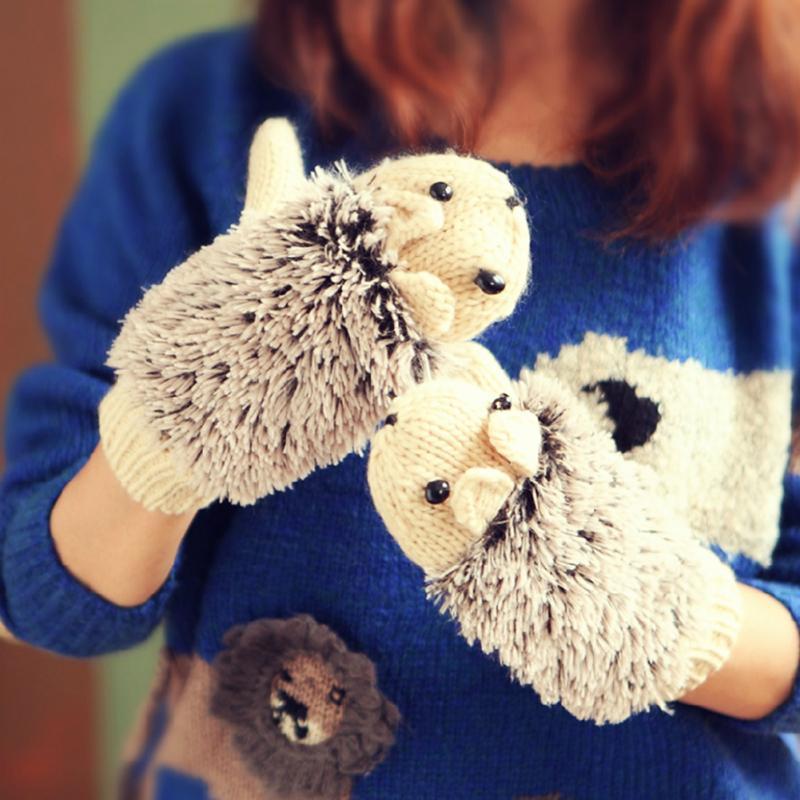 Women Winter Hedgehog Gloves Warmer Knitted Crochet Wrist