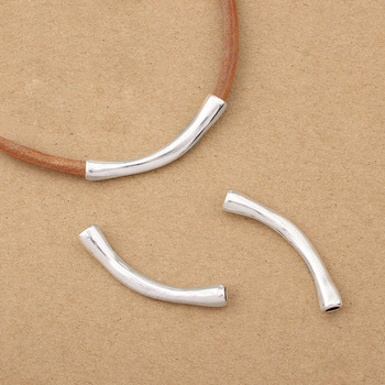 10Pcs Antique Silver Color Zamak Solid Plain Curved Tube Connector For 4mm Round Leather Cord Bracelet Jewelry Findings