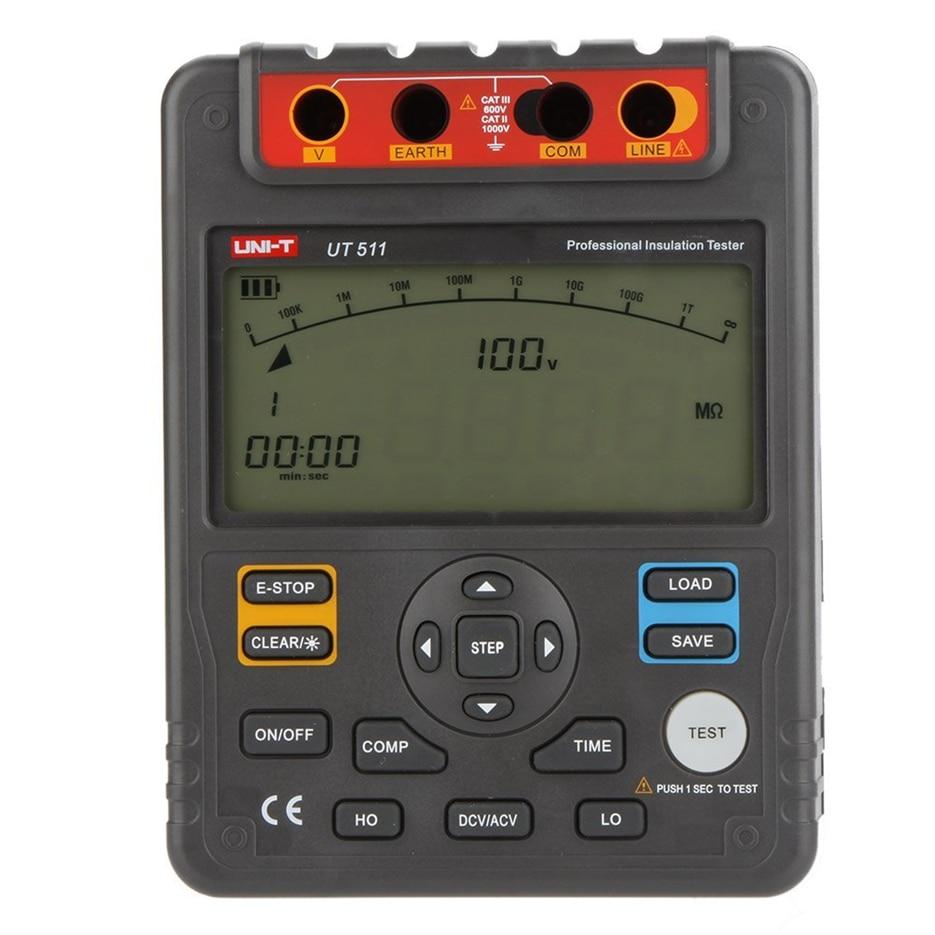 UNI T UT511 Цифровой Сопротивление изоляции Тестеры метр Мегаомметр низкоомный Омметр Вольтметр Авто Диапазон 100