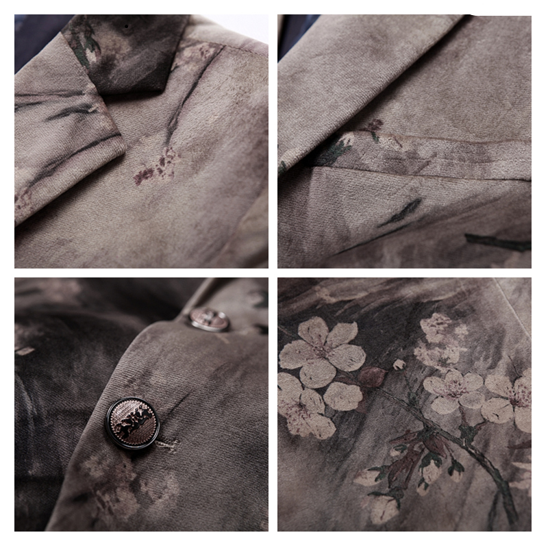 Fit Hommes Impression Plyesxale Slim Scène Veste Marque Porter Blazers Picture Blazer Q156 Velours As Fleur Bal Élégante Floral wHFISdBq