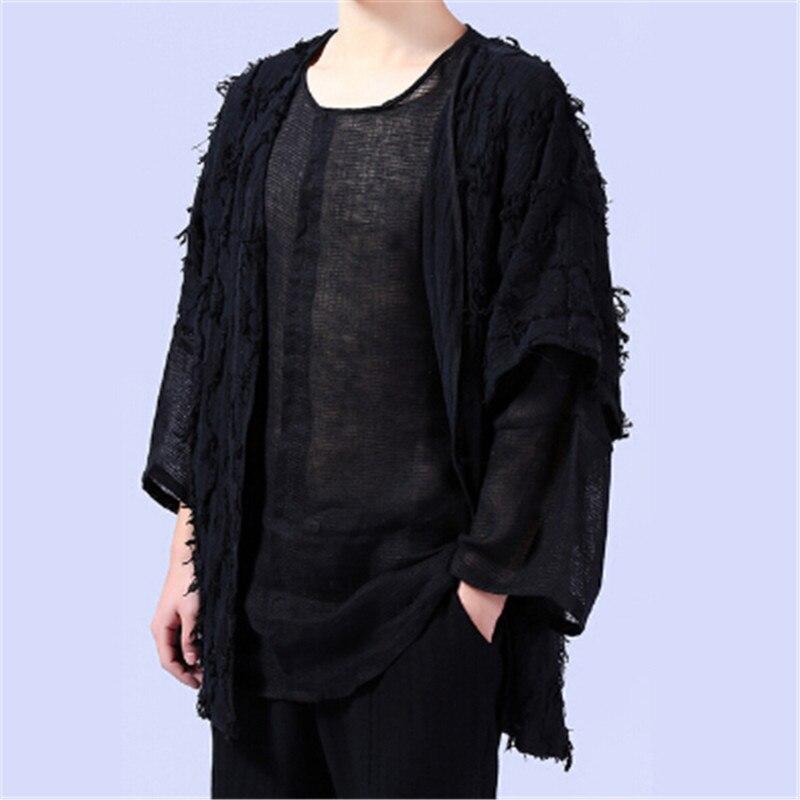 Summer Spring Veste Blue Lâche Courtes Livraison 2017 Hommes Manches black Cardigan De New Style Gratuite Linge Chine Manteau Mâle wtaICaqFx