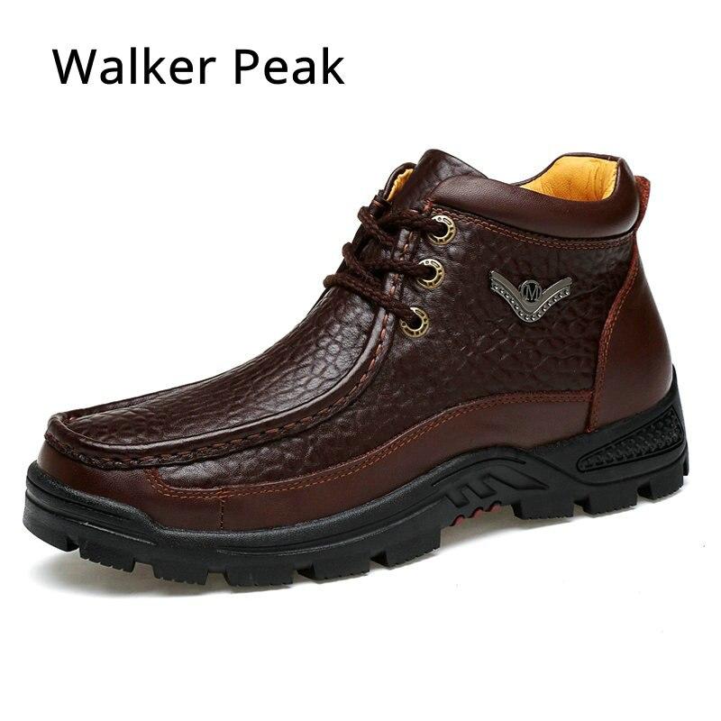 Fashion Crocodile Genuine Leather Mens Shoes Fur Ankle Boots Warm Winter Shoes Snow Mens Boot Lace Up Men Shoes Plus Walker Peak club lace up genuine leather men boots snow winter warm plush causal flats shoes mens waterproof ankle boots plus size 37 47