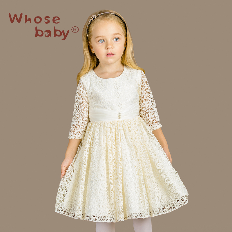 1df35f2f4 New Girls Lace Bow Flower Autumn Bridesmaid Dresses For Kids Teenage ...