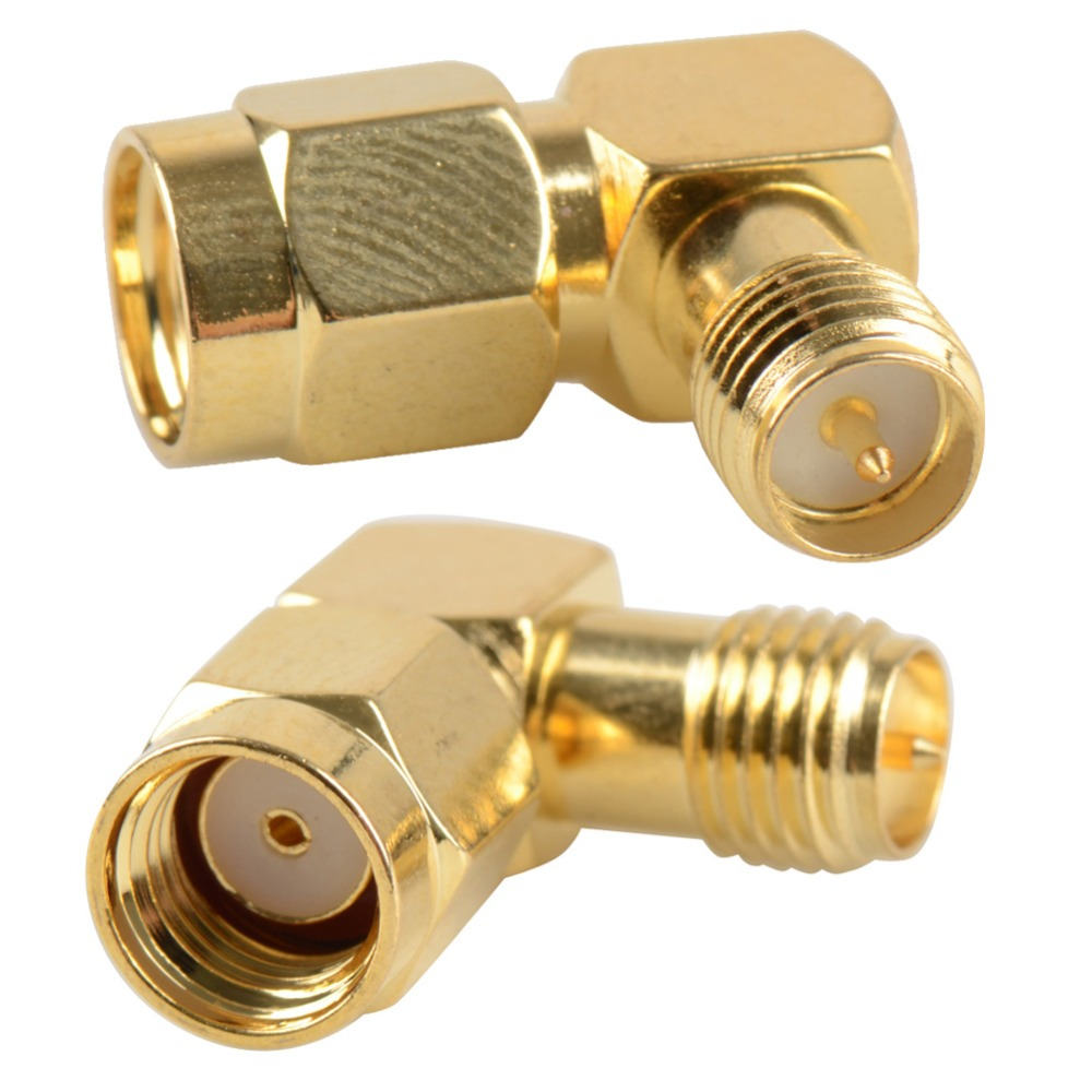 2016 RP-SMA Male Jack To RP-SMA Female Plug Right Angle 90 Degree RP Coaxial Connector Adapter 4pcs gold plated right angle rca adaptor male to female plug connector 90 degree