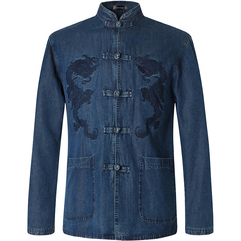 2018 Frühling Herbst Eigenschaften Shirts Männer Casual Traditionellen Chinesischen Langen Ärmeln Tang Hemd Männlich Shirts L860 KöStlich Im Geschmack Legere Hemden