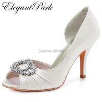 Woman High Heel Wedding Shoes Ivory Mint Peep Toe Rhinestones Bride Lady Satin Prom Evening Party