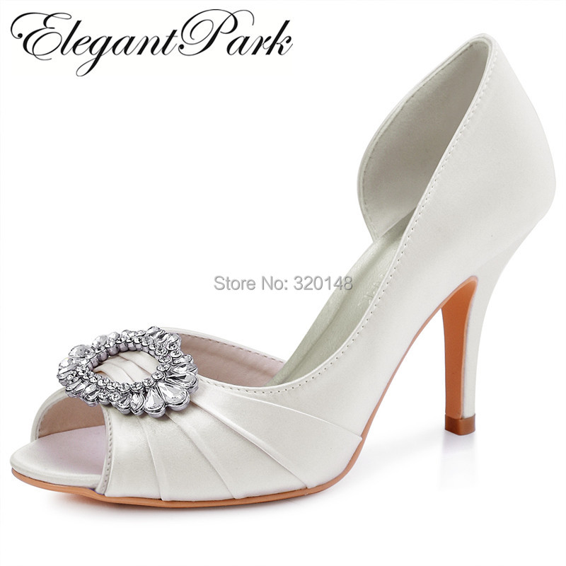 Women wedding Shoes Ivory Mint Peep Toe High Heel Rhinestones Bride Ladies Satin Prom Evening Party Bridal Pumps HP1710 Wine Red ep2094ae navy blue teal women evening party pumps high heel peep toe satin bride bridesmaids bridal wedding shoes ivory white