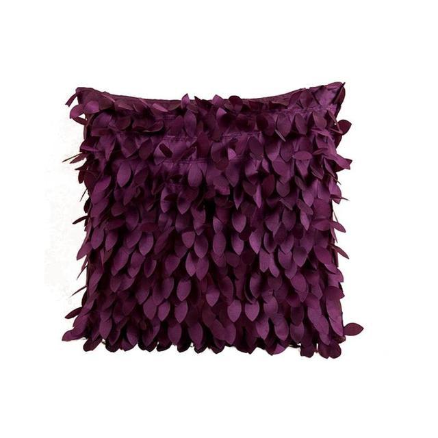 Gentil 3D Leaf Decor Pure Color Cushion Covers Dark Purple Sofa Cushion Cover  Wedding Party Decor Pillowcase