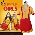 Custom made 2 broke girls max caroline channing wesbox preto cosplay traje traje de halloween 2 broke girls fancy dress shirt