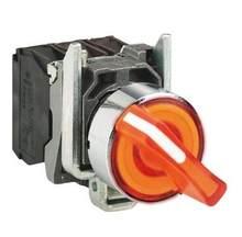 Xb4bk125m5 = zb4bw0m55 + zb4bk1253 interruptor seletor iluminado, metal, orange, ø22, 2 posições, ficar posto, 230...240 v ac, 1 não