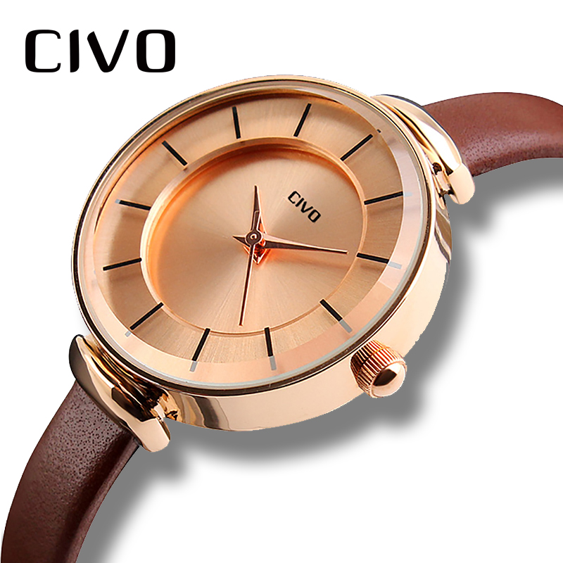CIVO 2018 New Brown Leather Strap Watches Women Simple Casual Ladies Quartz Watch Clock Ladies Bracelet Watches Relogio Feminino цена