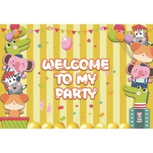 Laeacco Welcome To My Party Animals Balloons Flags Cartoon Scene Photographic Backgrounds Photography Backdrops For Photo Studio