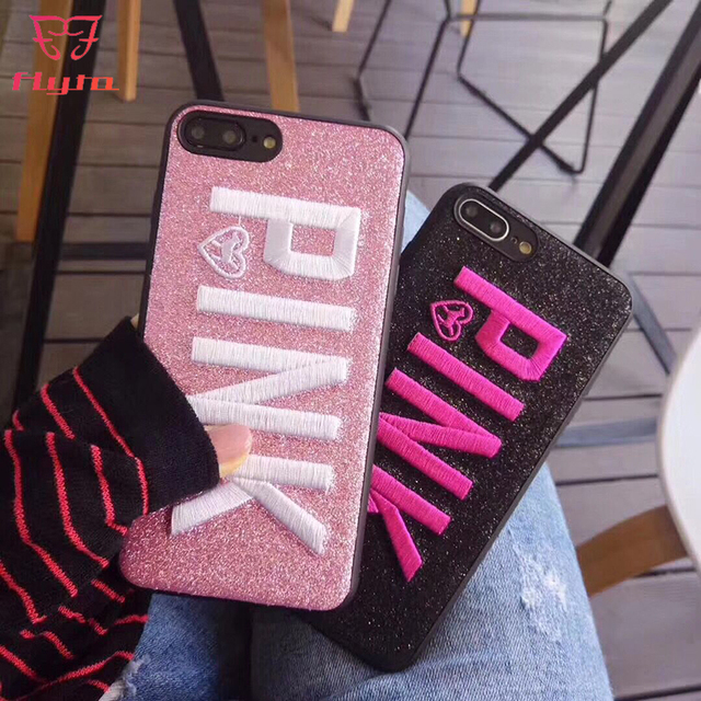 online store 07c74 d3083 US $4.0 |FlyTo Phone Case For iPhone 7 Case Embroidered Victoria's Secret  Pink the case for iPhone X 8 7 6 6s Plus-in Fitted Cases from Cellphones &  ...