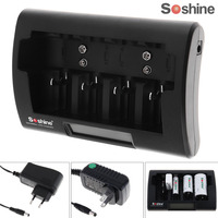 Soshine Universal 12 18V NiMH NiCd Battery Charger LCD Display for Ni MH Ni Cd AA AAA 9V D Rechargeable Battery EU / US Plug