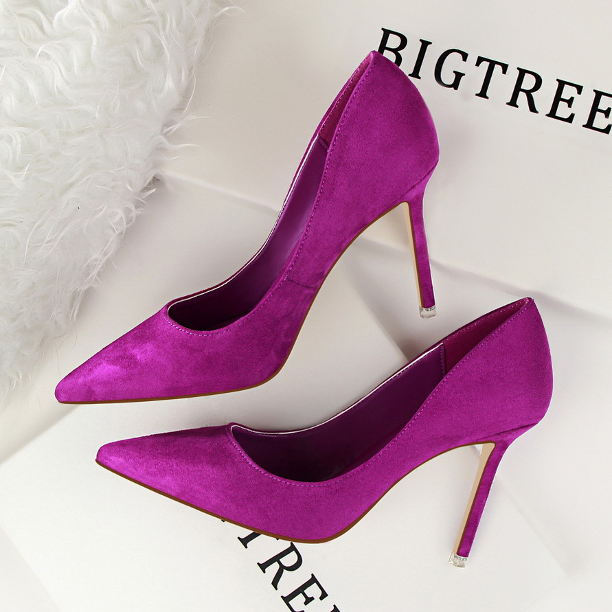 New Women Pumps Classic High Heels Shoes Fashion Suede Flock Purple Sexy Slim Pointed OL Office Singles Heeled Shoes 34 G516-1 women wedding shoes suede pump high heels ol lady office shoes pointy chic court stiletto candy color party classic shoes
